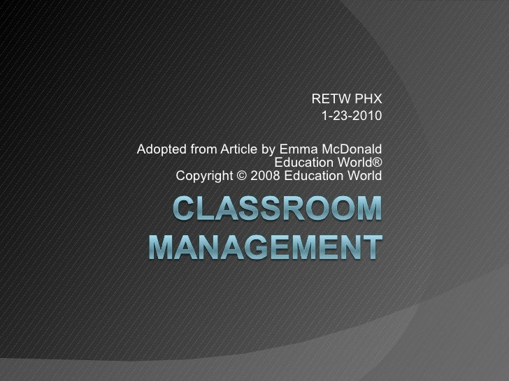 RETW PHX 1-23-2010 Adopted from Article by Emma McDonald Education World® Copyright © 2008 Education World