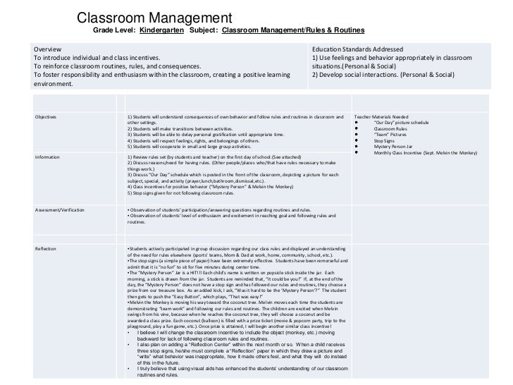Classroom Management         <br />Grade Level:  Kindergarten   Subject:  Classroom Management/Rules & Routines<br />