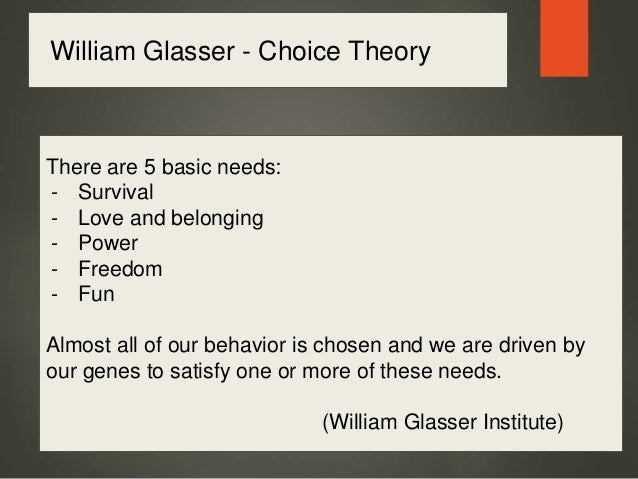 william glasser choice theory essay William glasser's choice theory - dr william glasser was a distinguished psychiatrist and author known for his distinctive views about mental illness glasser broke away from the traditional model of psychotherapy in the early 1960s to develop his own model of counseling.