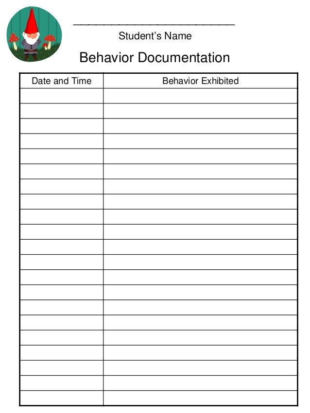 behavior log template
