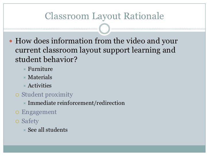 Classroom Design Rationale : Classroom management for btsa participants