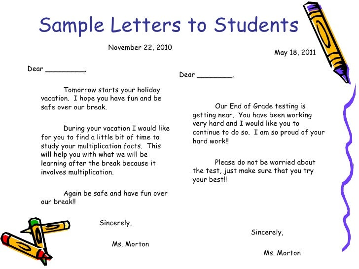 Classroom management plan – Encouragement Letter Template