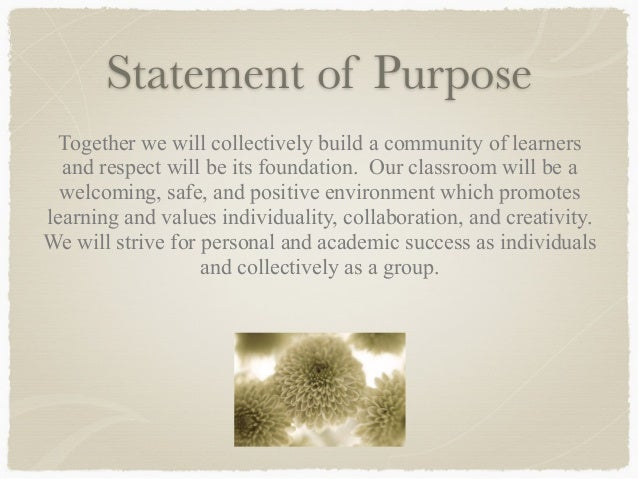 personal statement of purpose