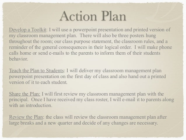Classroom Management Plan  Kirsten Dale