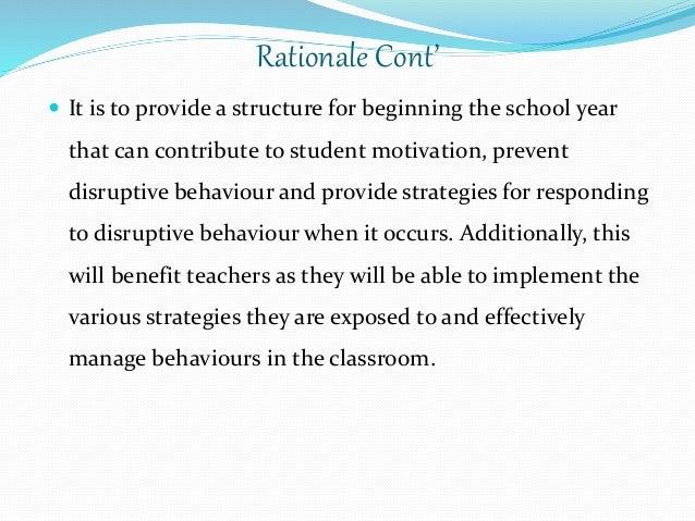 Classroom Design Rationale ~ Classroom management