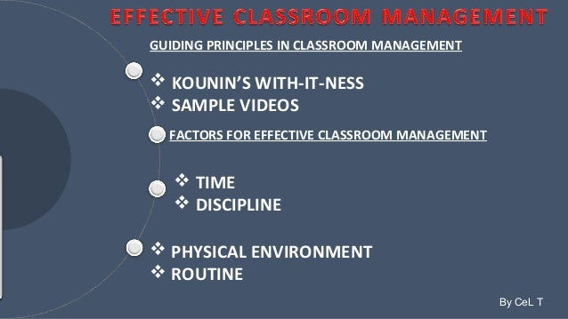 GUIDING PRINCIPLES IN CLASSROOM MANAGEMENT   KOUNIN'S WITH-IT-NESS   SAMPLE VIDEOS  FACTORS FOR EFFECTIVE CLASSROOM MANA...