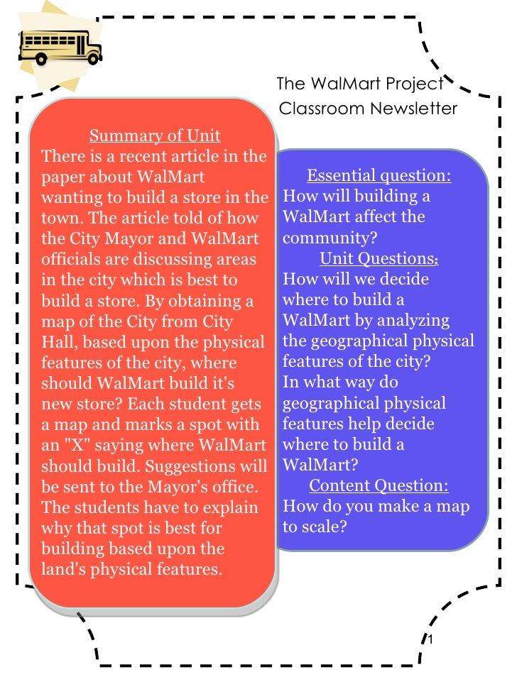 Classroom Newsletter Essential question: How will building a WalMart affect the community? Unit Questions : How will we de...