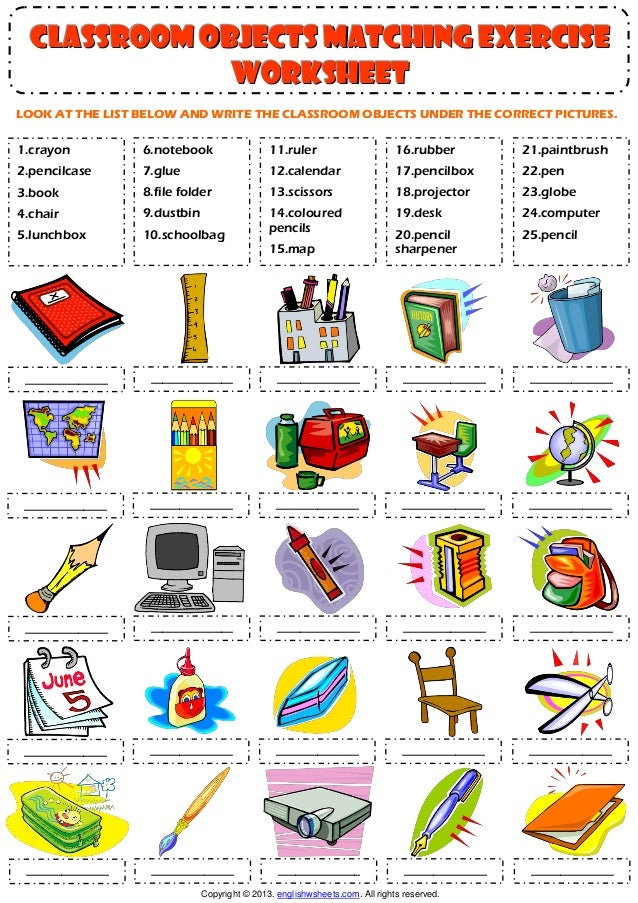 Classroom objects supplies vocabulary matching exercise for A bathroom item that starts with n