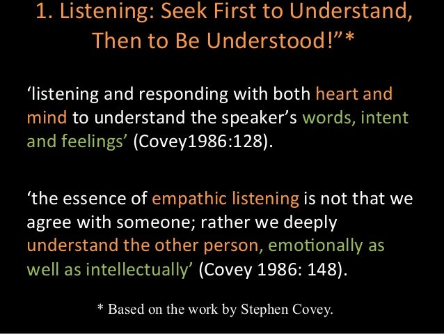 coveys concept of empathic listening essay Basic counselling skills and their usefulness - empathy, acceptance, warmth and genuineness this essay explains the three essential qualities needed to.