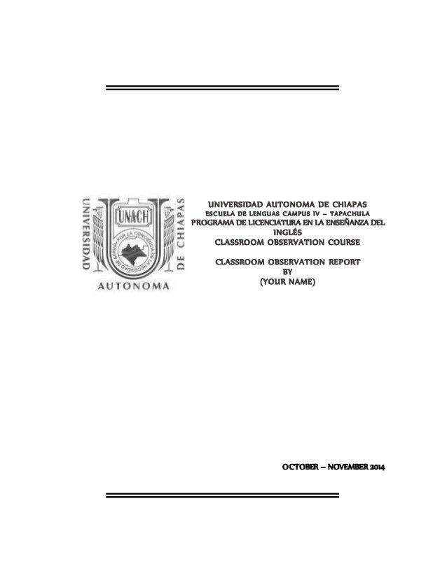 Classroom observation report cover page