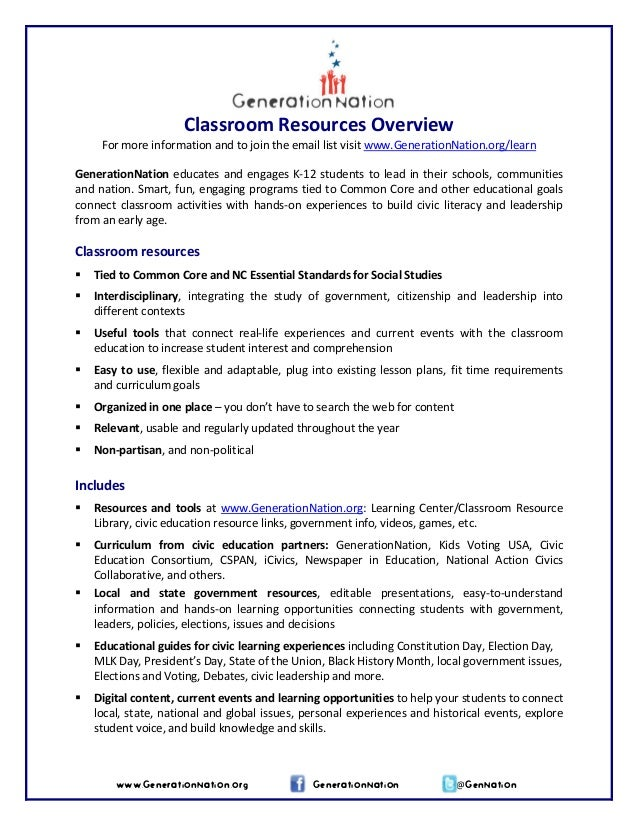 Classroom Resources Overview  For more information and to join the email list visit www.GenerationNation.org/learn      Ge...