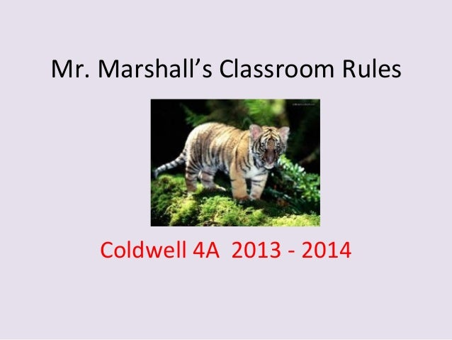 Mr. Marshall's Classroom Rules Coldwell 4A 2013 - 2014