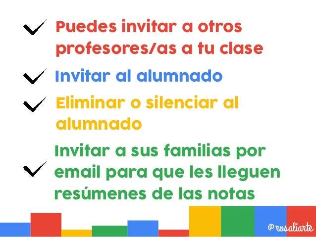 Para invitar al alumnado por correo electrónico @rosaliarte