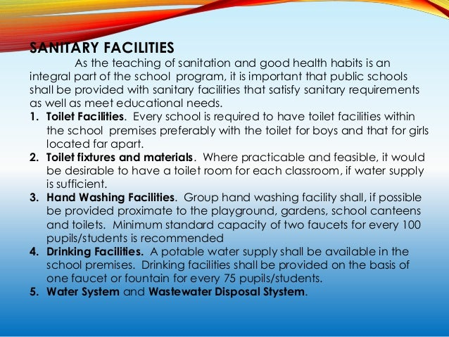 FACILITIES FOR ANCILLARY SERVICES School Health Clinic. It shall be located adjacent to the administrative area, if possib...