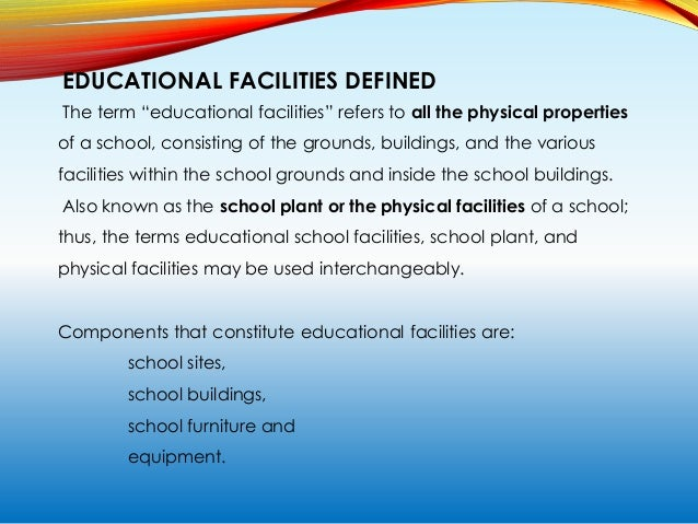 Standard Facilities The minimum furniture and equipment requirements for a regular classroom are: Furniture Quantity Table...