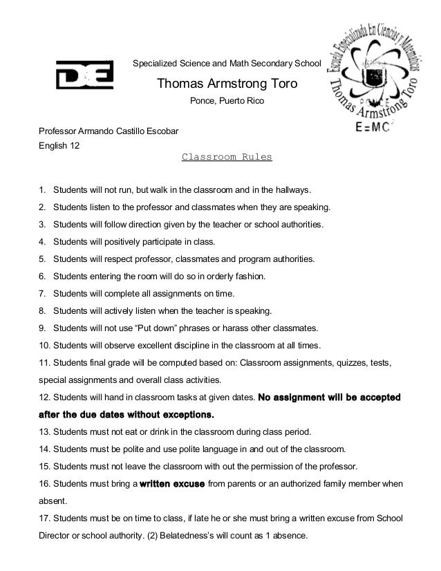 Specialized Science and Math Secondary School Thomas Armstrong Toro Ponce, Puerto Rico Professor Armando Castillo Escobar ...