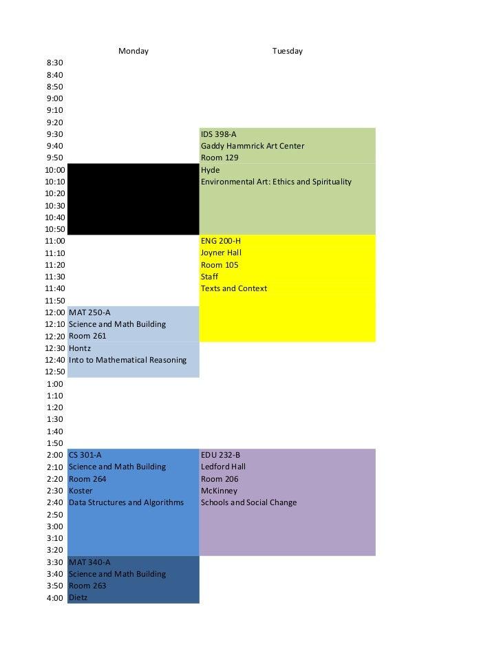 Monday                                   Tuesday 8:30 8:40 8:50 9:00 9:10 9:20 9:30                                    IDS...
