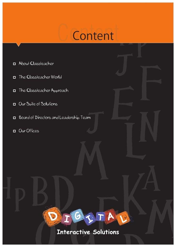 ContentAbout ClassteacherpThe Classteacher WorldpThe Classteacher ApproachpOur Suite of Solutionsppof Directors and Leader...