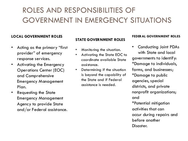 the role of an emergency management coordinator The federal emergency management agency  of the locale and role of all vital governmental and volun-  as an emergency coordinator,.