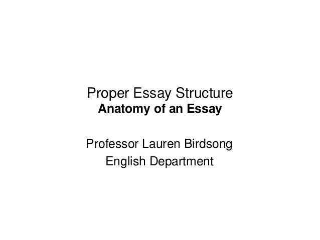 proper essay structure proper essay structure anatomy of an essay professor lauren birdsong english department