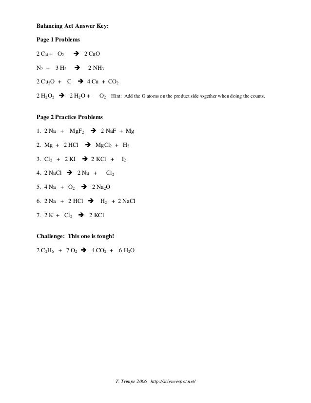 Best Sciencespot Net Balancing Equations Practice Answer Key Image