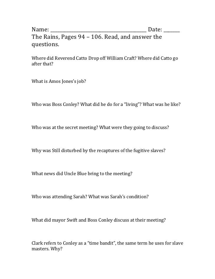 Name: _________________________________________ Date: _______The Rains, Pages 94 – 106. Read, and answer thequestions.Wher...