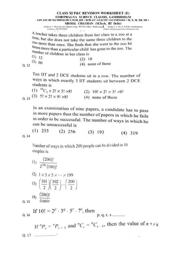 Class XI P&C Worksheet 2 (E) Slide 3