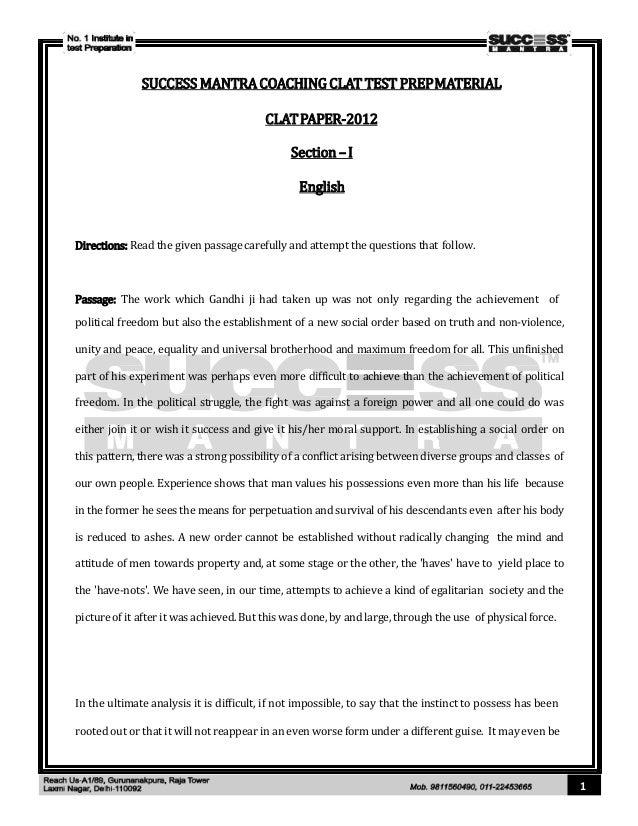 Clat 2012 Question Paper Pdf