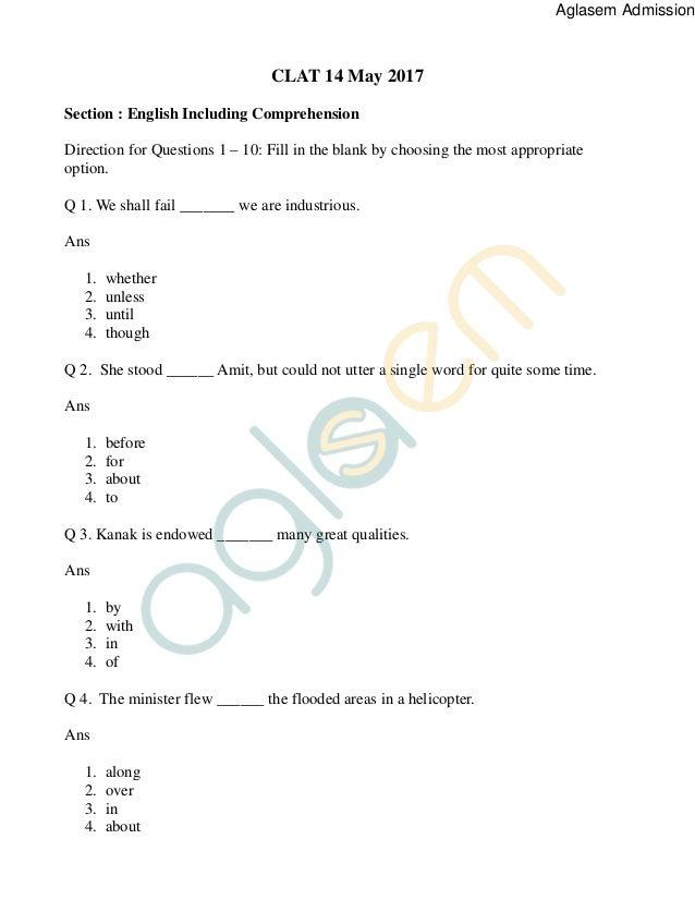 Clat Question Paper Pdf