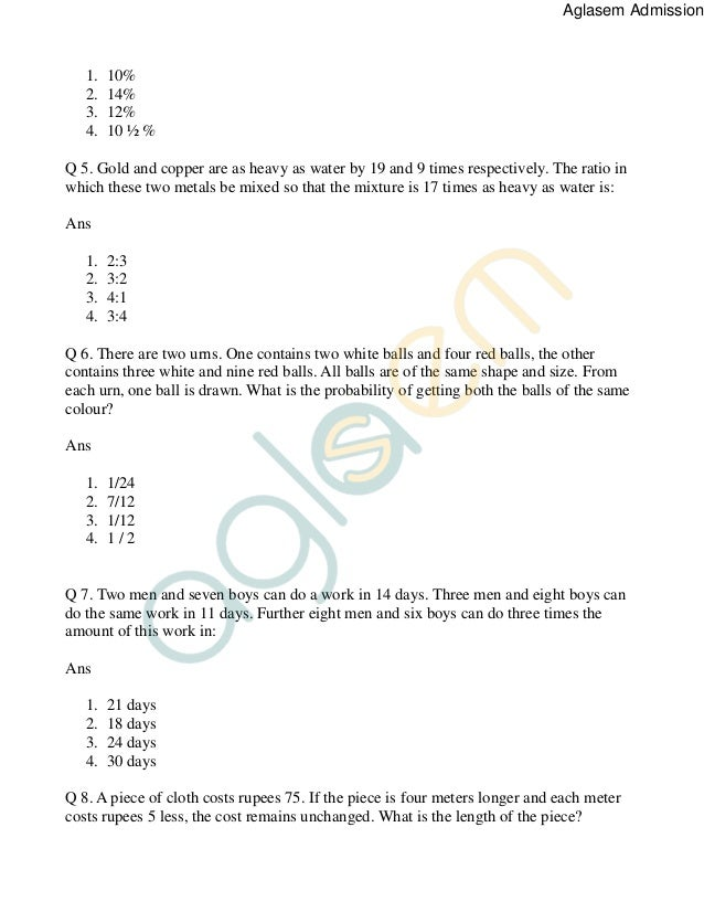 Clat Numerical Ability Pdf With Ans