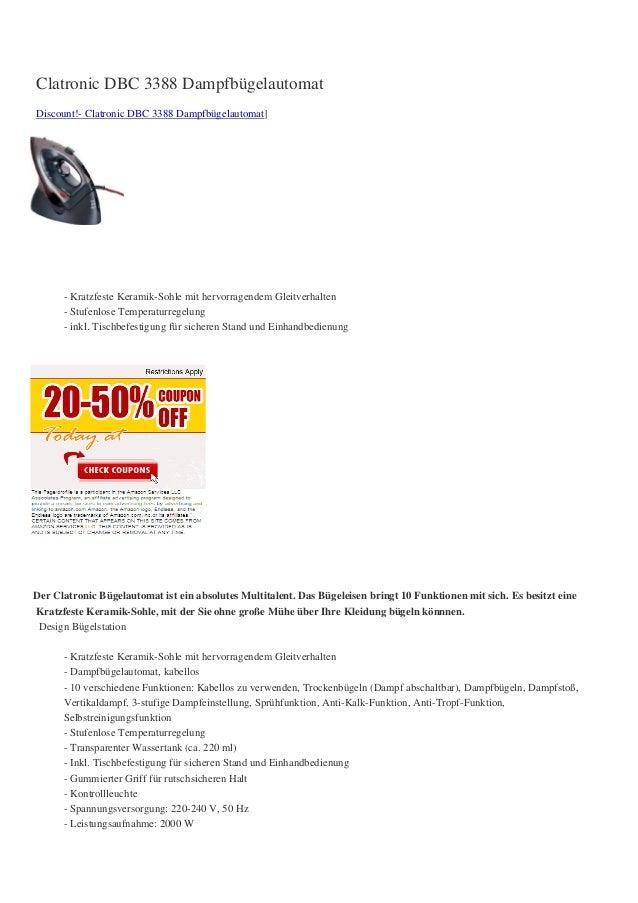 Clatronic DBC 3388 DampfbügelautomatDiscount!- Clatronic DBC 3388 Dampfbügelautomat]      - Kratzfeste Keramik-Sohle mit h...