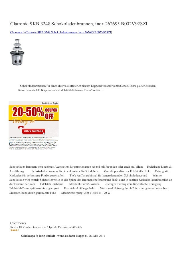 Clatronic SKB 3248 Schokoladenbrunnen, inox 262695 B002V92SZIClearance!- Clatronic SKB 3248 Schokoladenbrunnen, inox 26269...