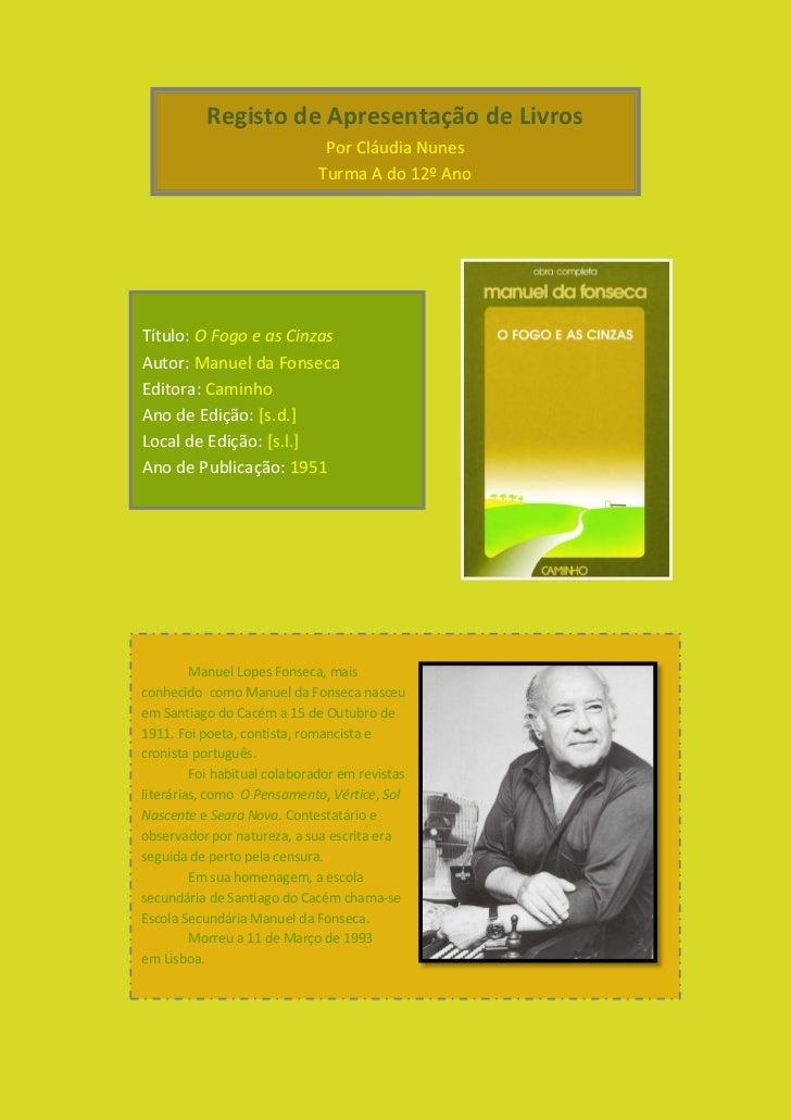 Registo de Apresentação de Livros                               Por Cláudia Nunes                              Turma A do ...