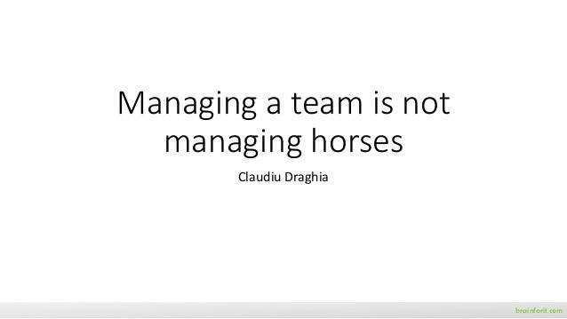 Managing a team is not managing horses Claudiu Draghia brainforit.com