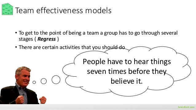 brainforit.com Team effectiveness models • To get to the point of being a team a group has to go through several stages ( ...