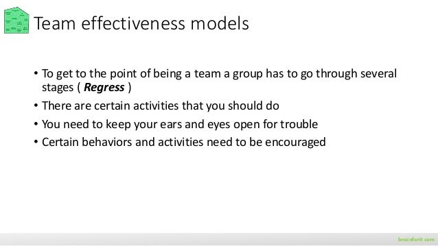 Identify dynamics of effective teams brainforit.com Team members reliably complete quality work on time
