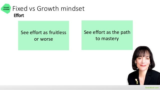 Growth mindset • Your mindset depends on how you look at challenges, obstacles, • Use the power of YET brainforit.com effo...