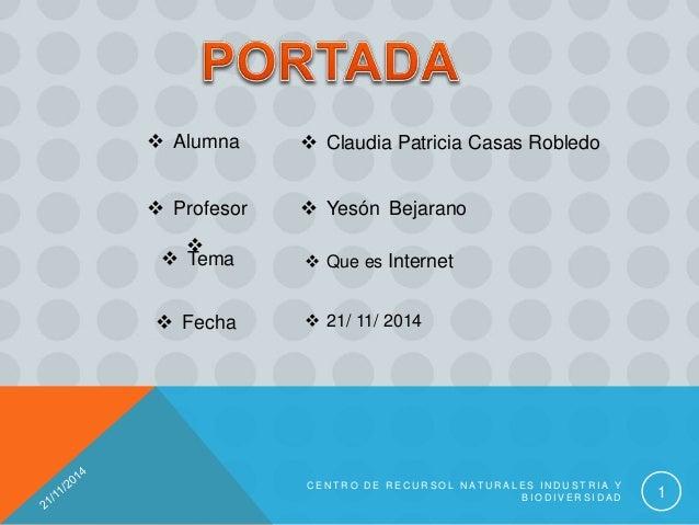  Claudia Patricia Casas Robledo  Profesor   Yesón Bejarano  Alumna  Tema  Que es Internet  Fecha  21/ 11/ 2014 C ...