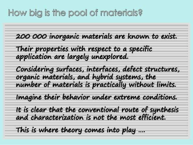 On the search for novel materials: insight and discovery through sharing of big data. Slide 3