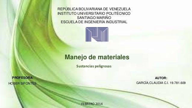REPÚBLICA BOLIVARIANA DE VENEZUELA INSTITUTO UNIVERSITARIO POLITÉCNICO SANTIAGO MARIÑO ESCUELA DE INGENIERÍA INDUSTRIAL  M...