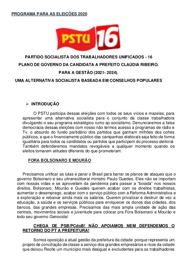 PROGRAMA PARA AS ELEIÇÕES 2020 PARTIDO SOCIALISTA DOS TRABALHADORES UNIFICADOS - 16 PLANO DE GOVERNO DA CANDIDATA A PREFEI...
