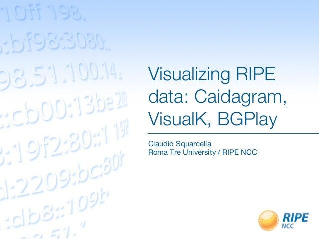 Visualizing RIPEdata: Caidagram,VisualK, BGPlayClaudio SquarcellaRoma Tre University / RIPE NCC
