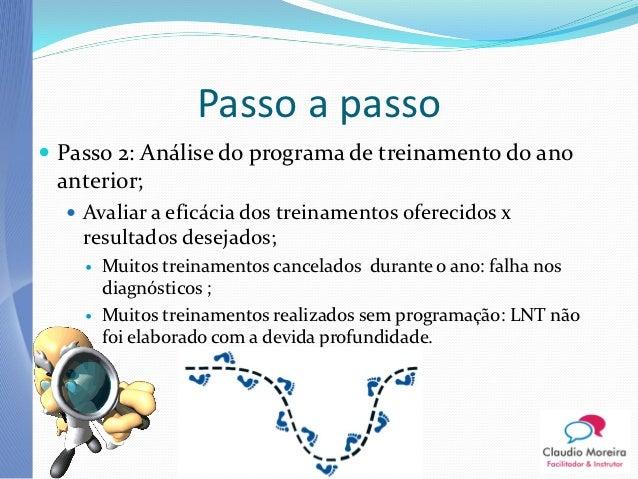 Passo a passo Passo 2: Análise do programa de treinamento do ano anterior;   Avaliar a eficácia dos treinamentos ofereci...