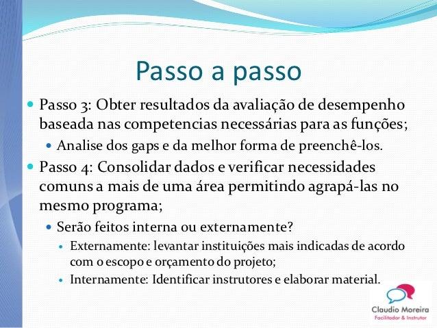 Passo a passo Passo 3: Obter resultados da avaliação de desempenho baseada nas competencias necessárias para as funções; ...