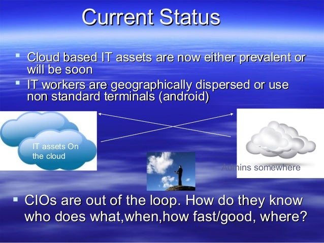 Current Status  Cloud based IT assets are now either prevalent or will be soon  IT workers are geographically dispersed ...