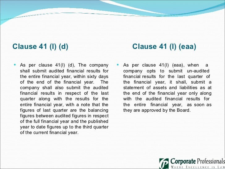 Clause 41 Of Listing Aggreement