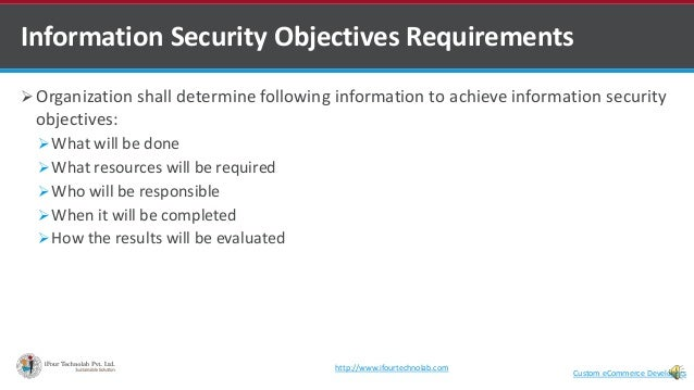  Organization shall determine following information to achieve information security objectives: What will be done What ...