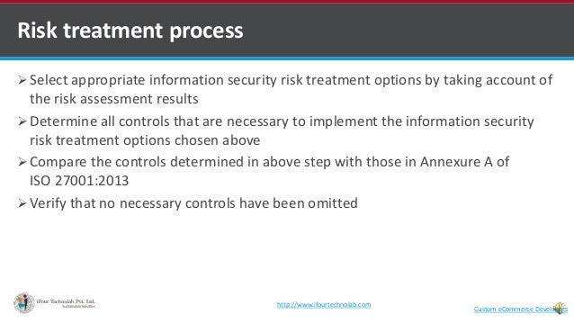  Select appropriate information security risk treatment options by taking account of the risk assessment results  Determ...