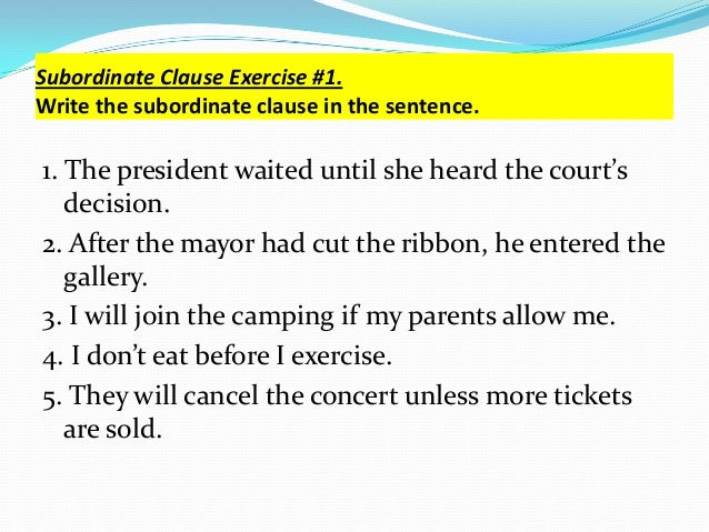 Clause modifiers – Subordinate Clauses Worksheet