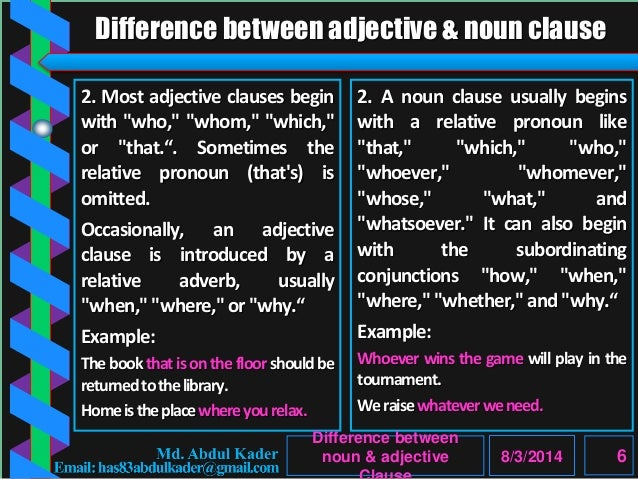 noun clause and adjective clause